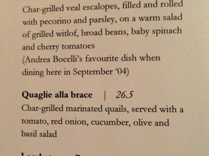 "Ahh. One of these ""we're so fancy, our menu is in Italian"" places. I deduce that main courses are the expensive ones."